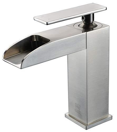 ALFI brand AB1598-BN Brushed Nickel Single Hole Waterfall Bathroom Faucet