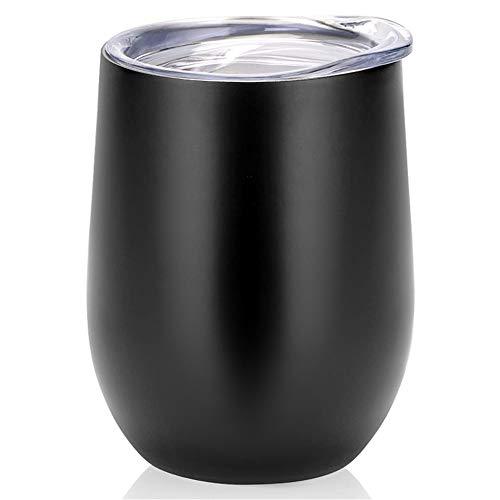 swonuk Taza Reutilizable Café de Acero Inoxidable, Taza Personalizada con Tapa, Taza de térmica para café, Vino, cóctel, champán, Bebidas frías y Calientes
