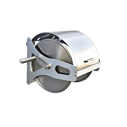 FGDSA Carrete de Manguera vacío Carrete de Manguera de Metal Acero Inoxidable y Aluminio Rejilla de Almacenamiento de tubería de Agua con Cubierta Rejilla de tubería de Agua montada en la Pared Juego