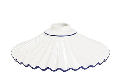 Abat-jour en céramique plissé blanc bord bleu 29 cm