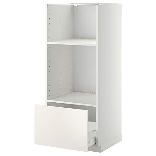 METOD/MAXIMERA cabina alta para horno/micro con cajón 60x61.6x148 cm blanco/Veddinge