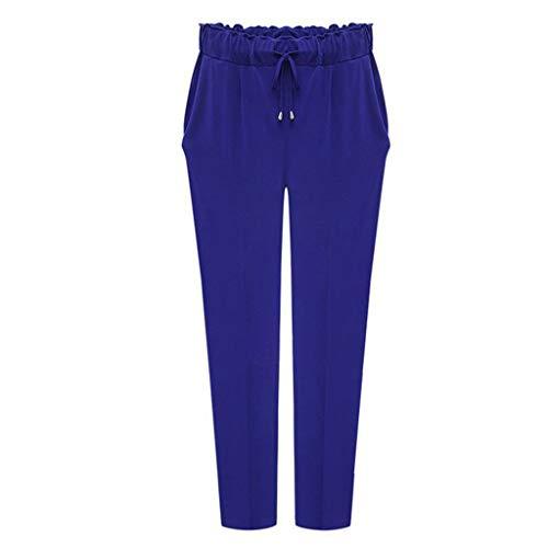 Zarupeng Slim Pluderbroek voor dames, maat en lange broek, casual, hoog-taille, stofbroek, elastische taillebroek, vrijetijdsbroek