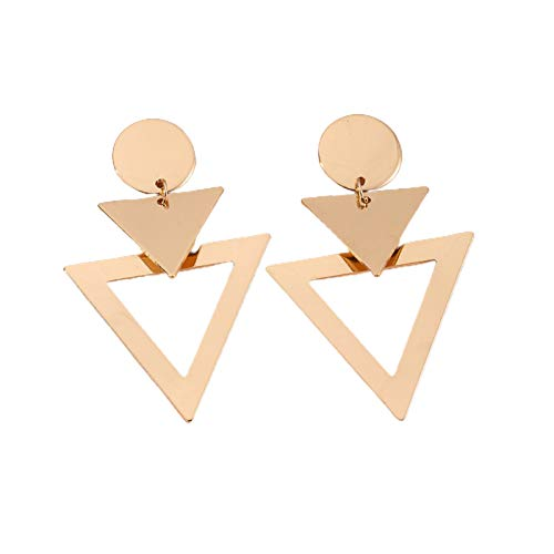 Juego de pendientes para mujer, diseño de triángulo, diseño hueco, 3 unidades