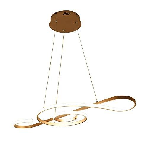 Lámpara Colgante de Techo LED Moderna 30W 2100Lumen Regulable con Control Remoto Diseño de Nota Musical Dorada Lámpara Colgante para Bar Café Cocina Isla Comedor Mesa de Comedor Dormitorio de niños A