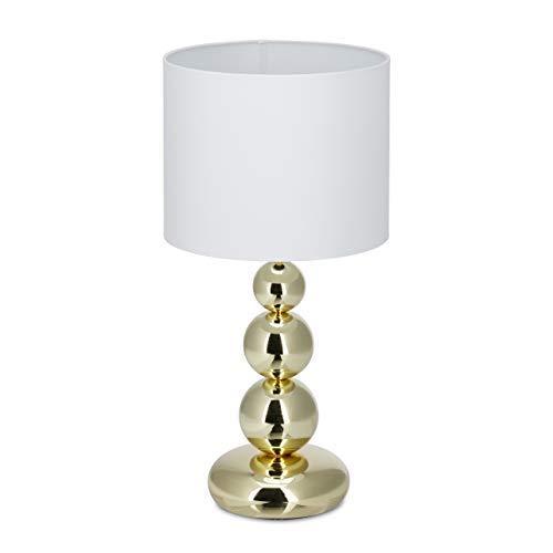 Relaxdays Tischlampe Gold, runder Lampenschirm, originelles Design, E27, Nachttischlampe, HxD: 50 x 25 cm, weiß/gold