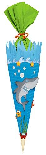 Ursus 9850028 - Schultüten Bastelset Hai, 6 eckig, 68 cm
