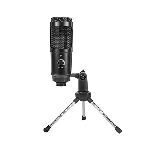 Fesjoy Metal Microphone, Metal USB Condenser Recording Microphone Compatible with Laptop Cardioid Studio Recording Karaoke Computer Microphone with Tripod