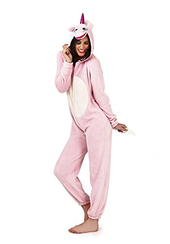 Loungeable Damen Jumpsuit Overall Tiere Gesichter Öhrchen 3D Kapuze Unicorn Pink 3D All In One 79666/79766 S