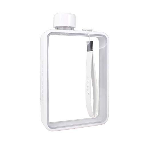 LINGKY 380 Ml Mini Transparente Plato Plano Papel A5 Hervidor De Agua Portátil, Botella De Agua Plástica Creativa