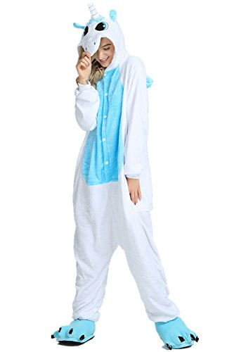 KiKa Monkey Flanela Unicornio Cartoon Animal Novedad Navidad Pijama Cosplay (S, Blue-Wing)