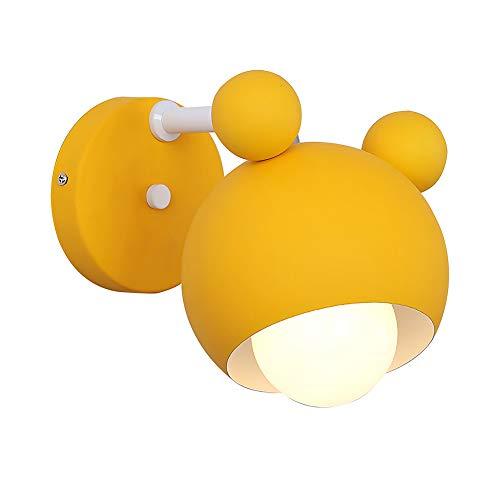 Lyghtzy® Applique da parete a forma di orso in ferro battuto per bambini Camera da letto (Giallo)