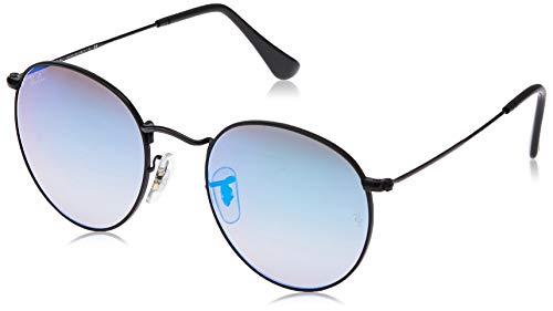 Ray-Ban RB3447 Round Metal Sunglasses, Shiny Black/Blue Gradient Flash, 50 mm