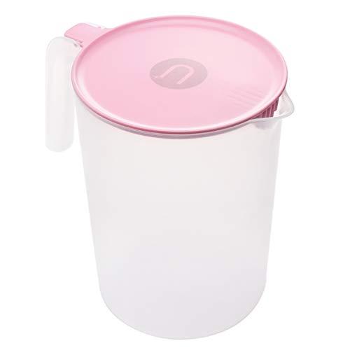 DOITOOL Jarra de plástico con mango para agua caliente y fría, 2 l, color rosa