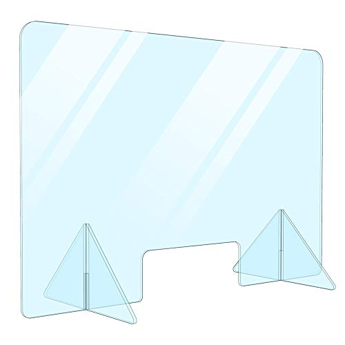 Portable Protection Acrylic Sneeze Guard/Plexiglass Shield for Office Desk, Countertop, Reception Table, Checkout Desk, Cashier Table Made in USA (24' W x 16' H)