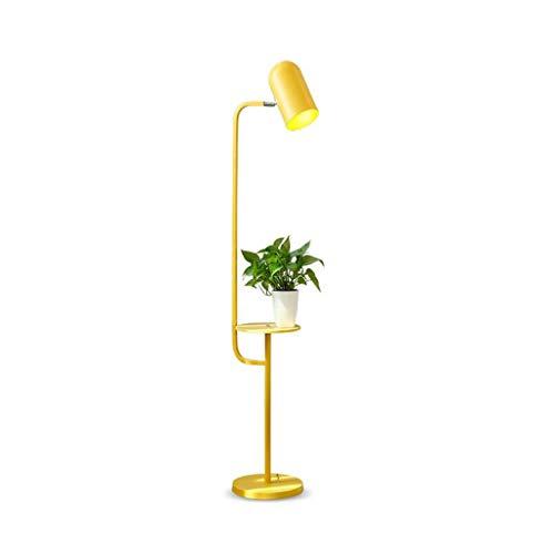 Lámpara de pie creativa Estilo nórdico Lámpara de pie, Lámpara de lectura 3 colores regulable ajustable de pie con bandeja de madera, for sala de estar dormitorio 180 ° Luz de piso (Color : Yellow)