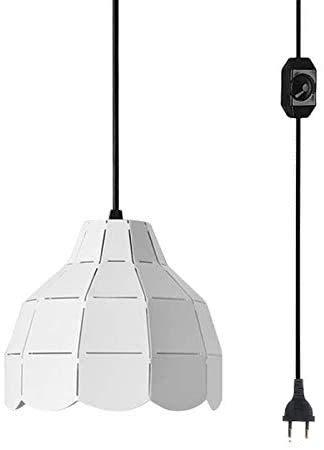 Lámpara colgante Macaron White Iron Art de FSLIVING con 4,5 m de cable de encendido y apagado con regulador de intensidad industrial minimalista