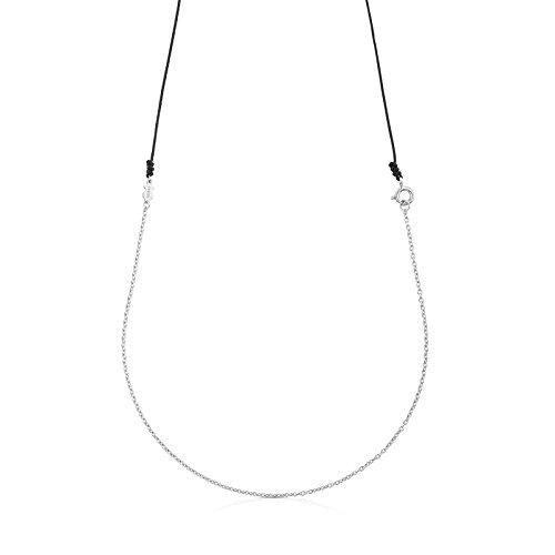 TOUS Collar Gargantilla de mujer en plata de primera ley y cordón negro, Largo 90 cm.