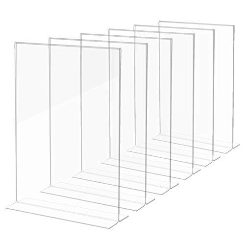 Dawoo Soporte de exhibición de mesa (6 piezas) -A4 soporte de exhibición de mesa vertical de plástico transparente, muy adecuado para restaurantes, marcos de fotos, documentos, etc.