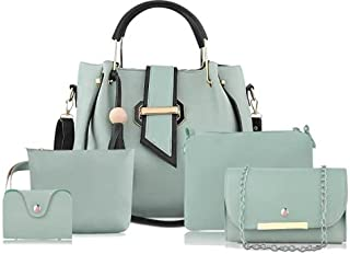 Women Green Hand-held Bag Combo Set of 5