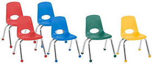 FDP 12' School Stack Chair, Stacking Student Chairs with Chromed Steel Legs and Ball Glides - Assorted Colors (6-Pack)