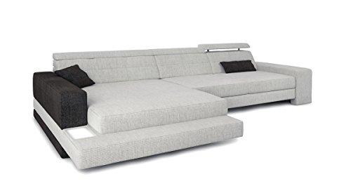 Bullhoff by Giovanni Capellini Eckcouch Sofa L-Form Couch Stoff Wohnlandschaft grau Platin/schwarz Designsofa modern Ecksofa mit LED-Licht Beleuchtung Imola III