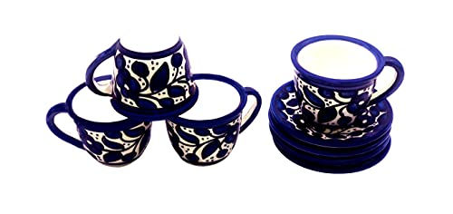 Oriental Arts Ceramic Arabic Coffee Cup Set With Saucers- Coffee Espresso Cups Set, Turkish Coffee Cups, Greek, Moroccan Coffee Serving Set, Handmade Decorative Colorful Cups (Blue, 7 Oz)