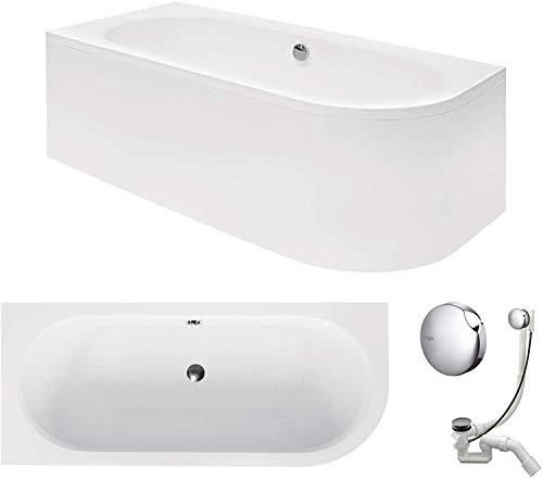 VBChome Badewanne 160x75 cm Acryl SET Schürze Siphon Wanne Ecke Eckbadewanne Weiß Design Modern Ablaufgarnitur in Chrom Viega Simplex für 2 Personen links