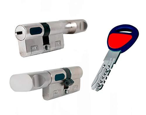 Bombin de seguridad MAUER NW5 31x31 color NIQUEL con POMO, reforzado, antirotura, antibumping, antitaladro, leva antiextracción, cerradura para puerta, 5 llaves, cilindro, tarjeta de seguridad