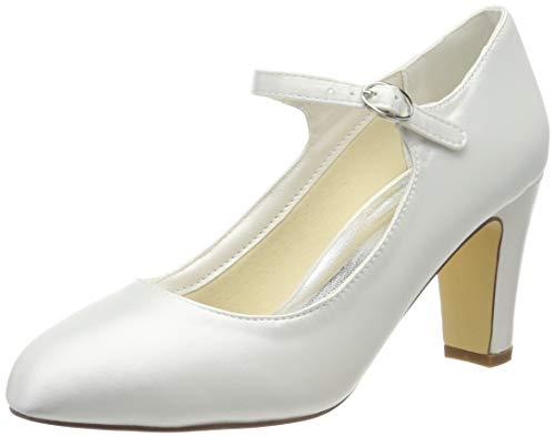 Mrs White, 3421–5, Braut-Schuhe für Damen, geschlossene Zehen, breiter Absatz, Satin, Pumps, Hochzeitsschuhe, Elfenbein - elfenbeinfarben - Größe: 38
