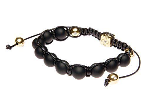 Andante-Stones Elegante SHAMBALA Bracciale dimensione regolabile 16-22 cm nero opaco con elementi d'oro + sacchetto di organza