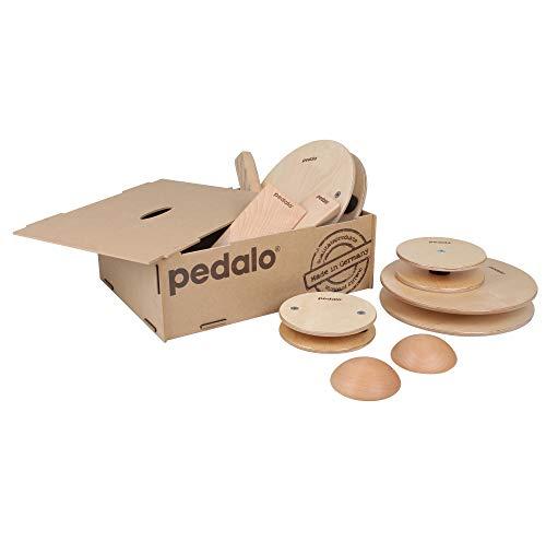pedalo Balance-Box Holzbox I Set I Balancier-Spiel I Balance-Pfad I Gleichgewichtstrainer I Kindergarten I Schule I Koordination I Kinder und Erwachsene