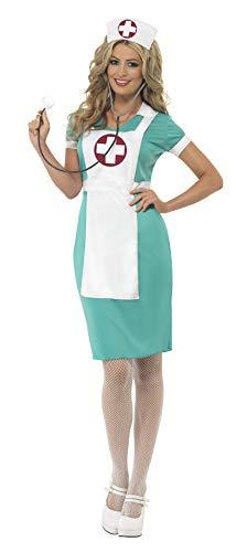 Smiffys-25870L Disfraz de Enfermera de quirófano, con Vestido, Delantal postizo y cofia, Color Verde, L-EU Tamaño 44-46 (Smiffy'S 25870L)