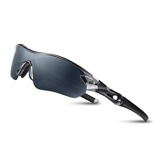 Bea Cool Sportbrille Sonnenbrille Herren, Polarisierte Sport Brille mit UV400 Schutz TAC Sportsonnenbrille PC Rahmen für Radfahren, Laufen, Outdoor-Aktivitäten (Transparentes Grau)