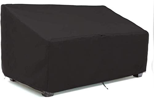 Garden Loveseat Cover Waterproof Patio Loveseat Cover 420D Oxford Fabric Garden Loveseat Bench Cover Outdoor Bench Lounger Chair Cover with Drawstring and Storage Bag (147 * 83 * 79cm)