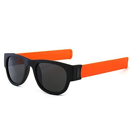ERWEI Gafas de Sol de Pulsera, Gafas de Sol Plegables polarizadas Espejo polarizadas, Tonos de Pulsera Plegables Deportivos para Hombres/Mujeres/Adultos/niños,Naranja