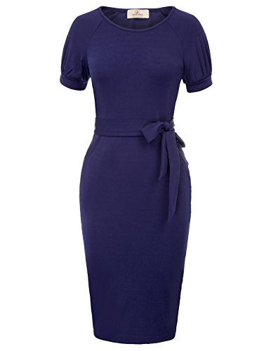 GRACE KARIN Women's Slim Bodycon Business Pencil Dress Size M Dark Blue