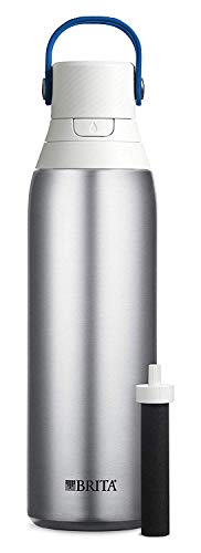 Brita Premium Filtering Water Bottle, 20 oz, Stainless Steel