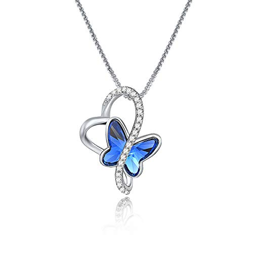 GEORGE · SMITH Women Heart Necklace Butterfly Necklace with Bule Crystals ,Jewellery Gifts for Mum/Wife/Daughter- With Gift Box