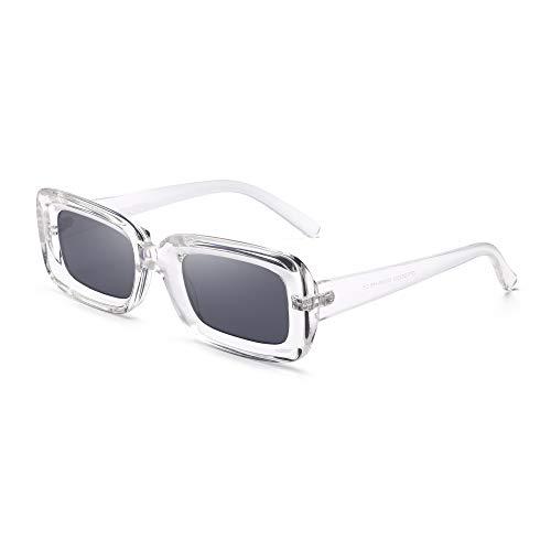 GLINDAR Gafas de Sol Rectangulares Para Mujer Gafas de Conducción Cuadradas Estrechas y Retro Protección UV400 Marco Transparente / Lente Gris