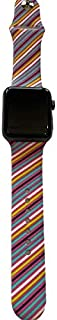 Techy Compatible with Apple Watch Band 42mm 44mm, Soft Silicone Sport Strap Replacement Bands Compatible with iWatch Series 5/4/3/2/1 - Colored Stripes
