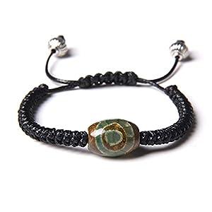 YUANCHENG Handgefertigtes, gewebtes, verstellbares Armband mit neun Augen Dzi