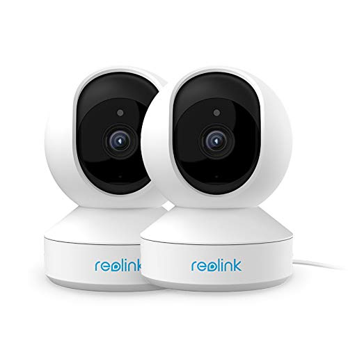 Reolink Cámara de Vigilancia WiFi 2.4GHz 3MP Súper HD, 2pcs Inalámbrica Cámara IP Interior, Bebé Monitor de Cámara con Inclinación Panorámica, Visión Nocturna, Audio, Acceso Remoto,E1(Pack de 2)
