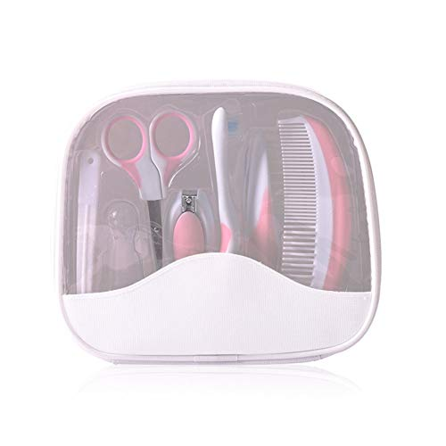 Rabusion Health For 7 Pcs/set Baby Nail Care Manicure Set Special Nail Clippers Comb Emery Hairbrush Tool Newborn Safety Care Pink