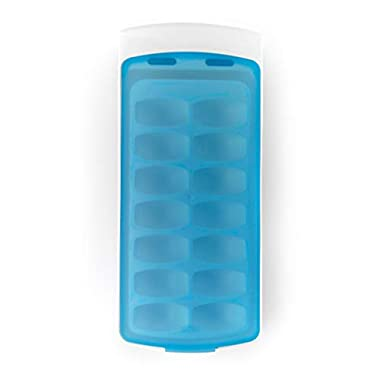 OXO Good Grips No-Spill Ice Cube Tray with Silicone Lid, 8.8 oz, White/Blue