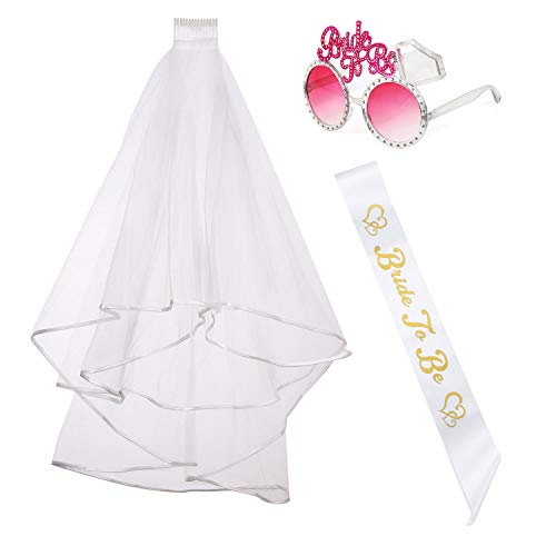 iLoveCos Hen Night Party Accessories Set Bridal Wedding Veil with Comb White Bride to Be Satin Sash and Sunglasses, 3 piece