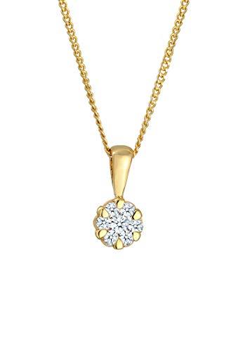 DIAMORE Halskette Damen mit Anhänger Elegant mit Diamant (0.15 ct.) in in 585 Gelbgold 45