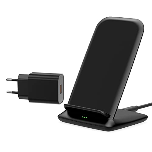 Cargador Inalámbrico 15W, Wireless Charger con QC 3.0 Adaptador, 15W para LG Sony,10 W para Samsung S20/S10/S9/S8/Note20/Note10, 7.5W para iPhone 12/12Pro/11/11Pro/XS/XR/X/8, 5W para Huawei-Negro
