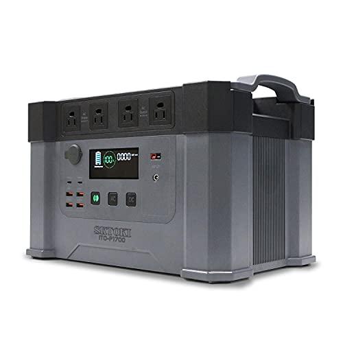 L1606F ポータブル電源ITO-P1700 モンスタークラスの大容量460000mAh/1700Wh 最高出力2000W/サージ3300W 100V✕4コンセント USB-TYPC充電可 2.5Kw8畳家庭用エアコン対応 車中泊 キャンプ アウトドア 防災グッズ ハチハチハウス製品 (ポータブル 電源 1700W)