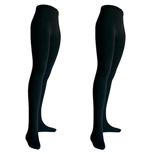 2er Pack Damen Thermo Strumpfhosen mit Innenfleece | blickdicht | schwarz M