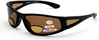 Vision World Eyewear Mens Polarized Fly Fishing Sunglasses with Rx Magnification bifocal Lens Readers (Black/Brown Lens, 2.00 Bifocal)